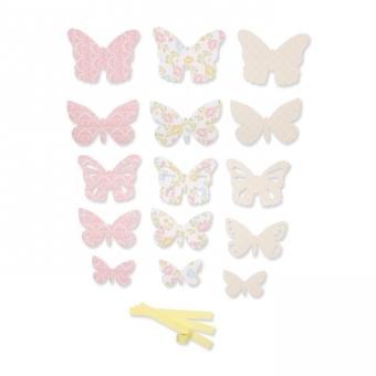 Papierschmetterlinge Deko-Set DIY rosa/gelb