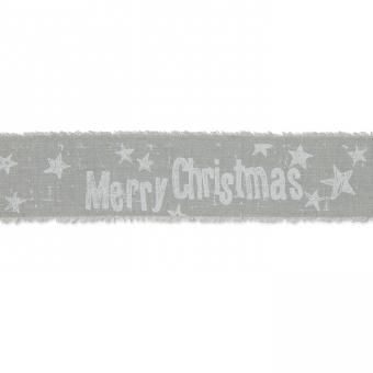 """Baumwoll-Druckband """"Merry Christmas"""" Grau/Weiß"""