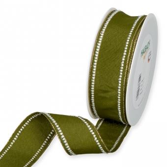 Dekorationsband 40 mm | Olivgrün/Weiß/Gold