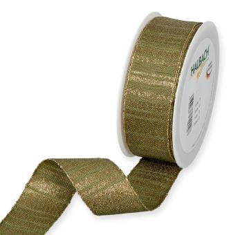 Lurex-Streifenband Olivgrün/Gold
