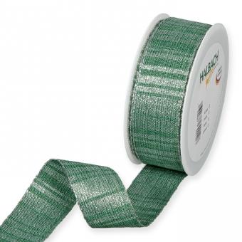 Lurex-Streifenband Dunkelgrün/Silber
