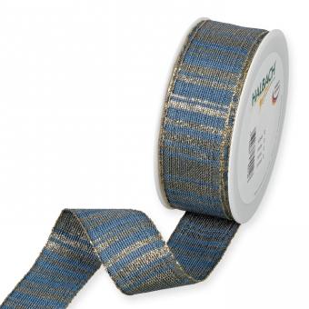 Lurex-Streifenband Blau/Gold