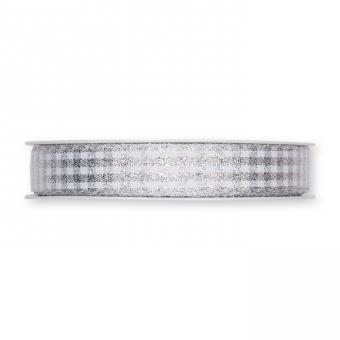 Karoband mit Lurex Silber/Weiß