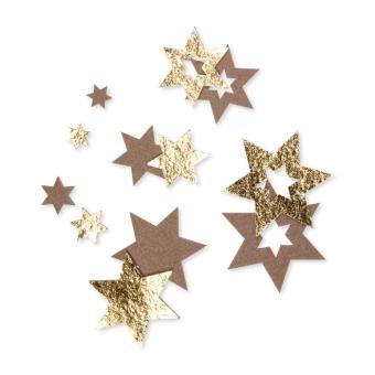 Filz-Sterne mit Foliendruck hellbraun/gold