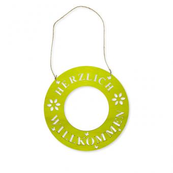 """Holz-Schild """"Herzlich Willkommen"""" 30 mm   grün"""
