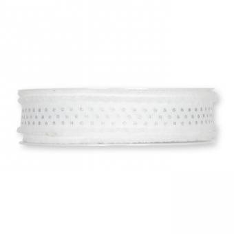 """Druckband """"Glitterpunkte"""" 18 mm   Weiß/Silber"""