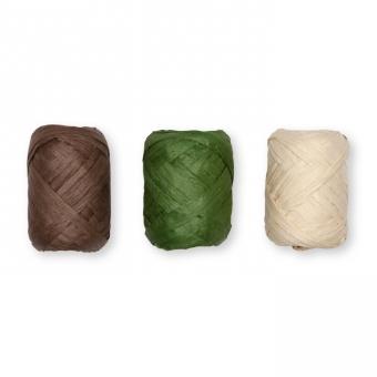 Papier-Raffia-Set 3 x 10 m braun/grün/natur