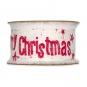 "Baumwoll-Druckband ""Merry Christmas"", Farbe: Weiß/Rot"