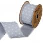 """Baumwoll-Druckband """"Stern-Muster"""", Farbe: Eisblau/Weiß"""