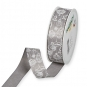 Dekorationsband Baumwolloptik, Farbe: Grau/Weiß