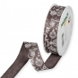Dekorationsband Baumwolloptik, Farbe: Braun/Weiß