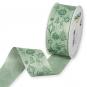 Dekorationsband Baumwolloptik, Farbe: Mint/Dunkelgrün