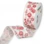 Dekorationsband Baumwolloptik, Farbe: Creme/Rot