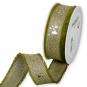 """Leinen-Druckband """"Sterne"""", Farbe: Olivgrün/Leinen/Gold"""