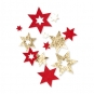 Filz-Sterne mit Foliendruck, Farbe: rot/gold