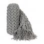 Deko-Strickband mit Fransen, Farbe: grau