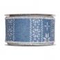Dekorationsband Strickoptik, Farbe: rauchblau/weiß