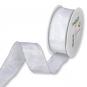 Taftband mit Lurexkante, Farbe: Weiß/Silber
