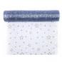 """Organza mit Glitterdruck """"Sterne"""", Farbe: Rauchblau/Silber"""