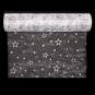"""Organza mit Glitterdruck """"Sterne"""", Farbe: Weiß/Silber"""